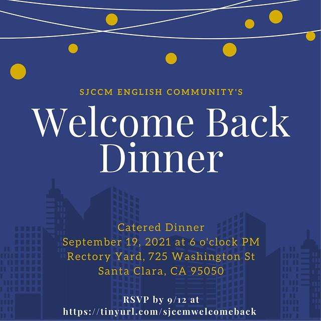 SJCCM English Community Welcome Back Dinner