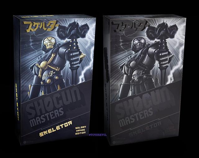 SHOGUN MASTERS SKELETOR MECH Golden Havoc & Dark Malice Editions on TOYSREVIL BOX Art
