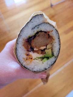 Karaage Sushi Burrito from Izakaya Midori at Gold Coast Vegan Markets