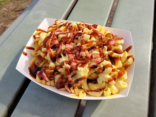 Mac and Cheese Loaded Fries from Grassfed at Gold Coast Vegan Markets