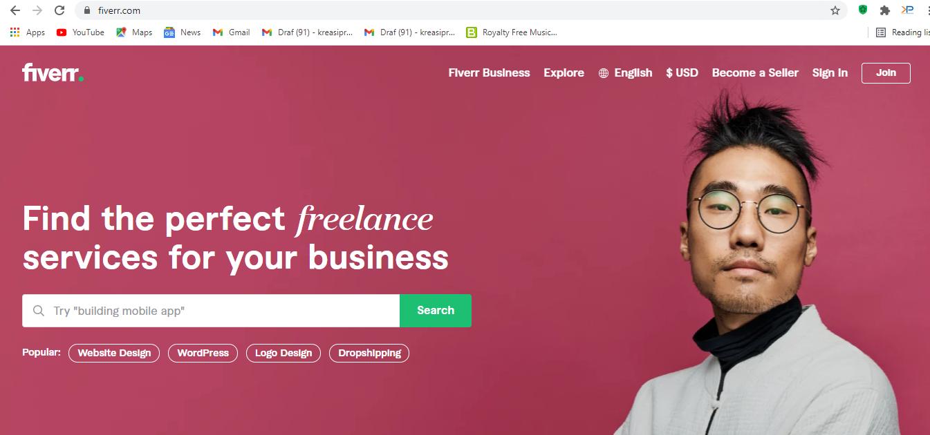 Fiverr adalah salah satu website freelance desain grafis yang bisa dicoba.