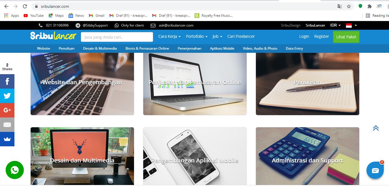 Sribulancer adalah salah satu website freelance desain grafis dengan cara memasukkan proposal dan bersaing dengan desainer lainnya.