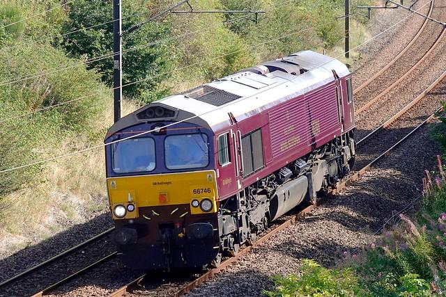 66746 is seen passing through Sunderland Bridge on 8 September 2021 with 0Z84 0930 Doncaster Decoy - Craigentinny light loco movement.