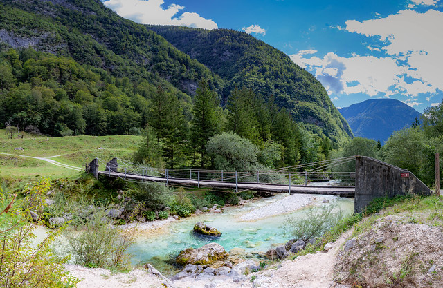 Bridge over blue water, Slovenia
