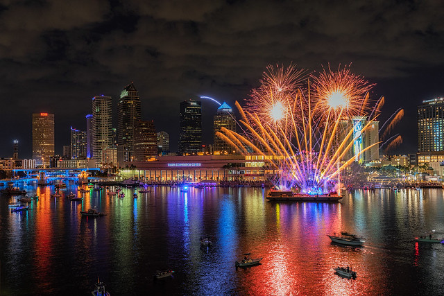Tampa Super Bowl Skyline Fireworks