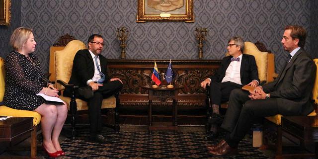 Audiencia entre el Viceministro para Europa Yvan Gil y el nuevo Encargado de negocios a.i. de la Delegación de la Unión Europea en Venezuela,  Honorable señor Rafael Dochao.