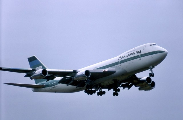 Brand-new Transamerica Boeing 747-271C N743TV seen on finals to runway 26 at London Gatwick