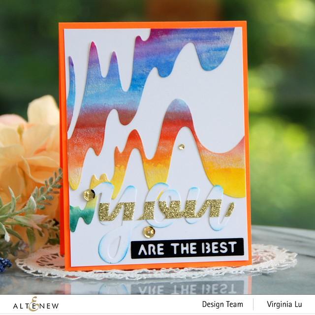 Altenew-Wave Form Cover Die-You Matter Die Set-24 Watercolor Pan Set-Dazzling Diamond Glitter CArdstock-001