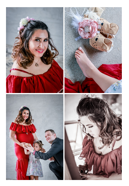 maternity photo in red dress