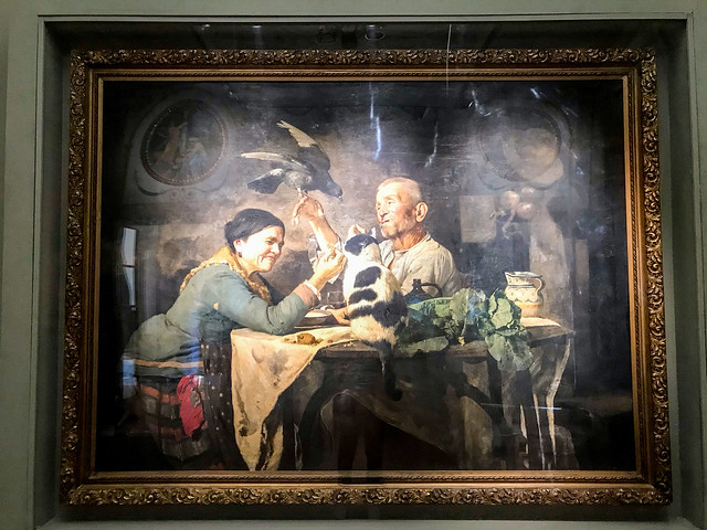 A classical European painting in the exhibit