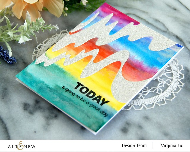 Altenew-Wave Form Cover Die-Woven Strips Stamp Set-24 Watercolor Pan Set-Dazzling Diamond Glitter Cardstock-003