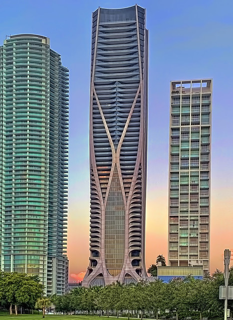 One Thousand Museum, 1000 Biscayne Boulevard, Miami, Florida, USA / Built: 2019 / Architects: Zaha Hadid Architects; ODP Architects & Interior Design / Floors: 62 / Height: 709 ft (216 m) /Structural Engineer: DeSimone Consulting Engineers