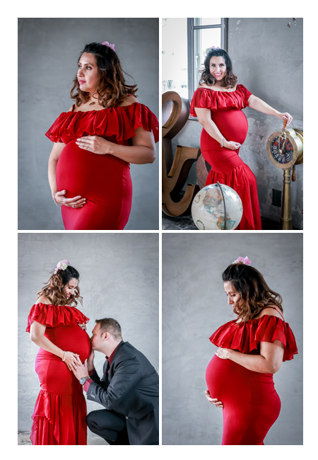 maternity photo, red dress, Nagoya, Japan
