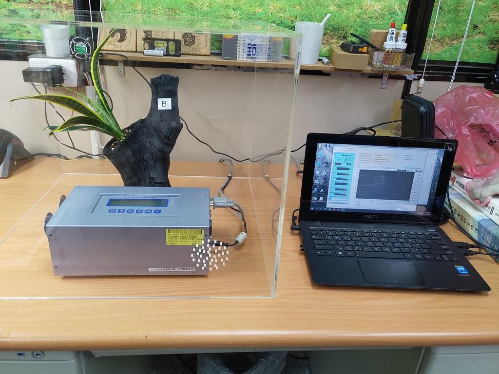 圖7植栽虎尾蘭的龍眼木炭盆進行氣體監測實驗中