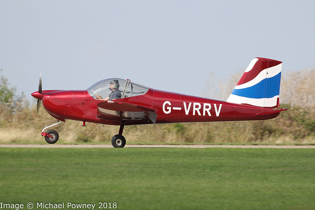 G-VRRV - 2017 build Vans RV-12, arriving at Sywell during the 2018 LAA Rally