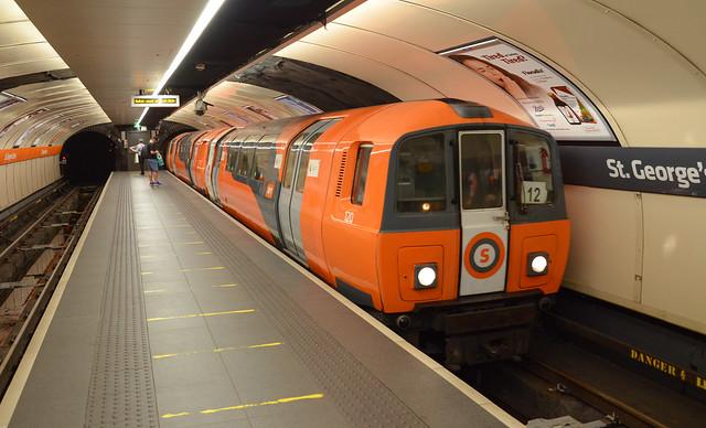 Glasgow clockwork orange unit 120 leads inner circle service at St George's Cross