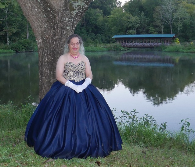 Blue/gold Ballgown
