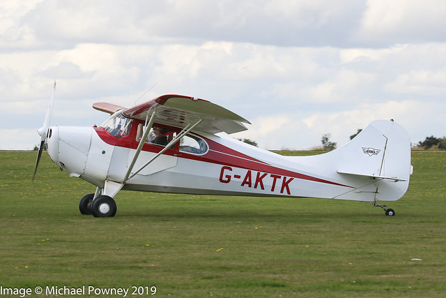 G-AKTK - 1946 build Aeronca 11AC Chief, arriving at Sywell during the 2019 LAA Rally