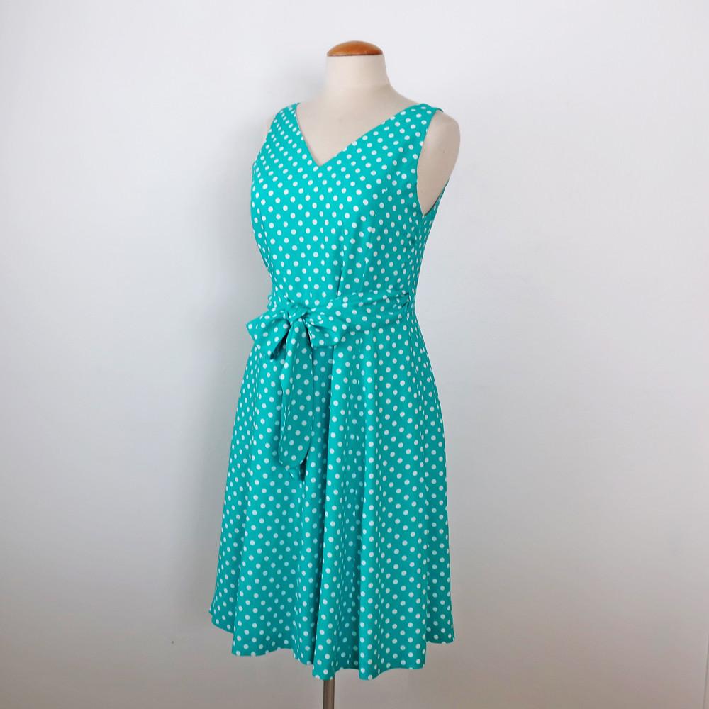 Green dot dress on form