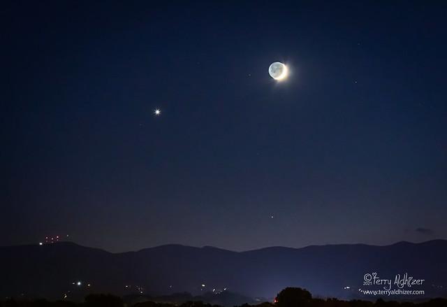 Venus & Moon Over Blue Ridge Mountains