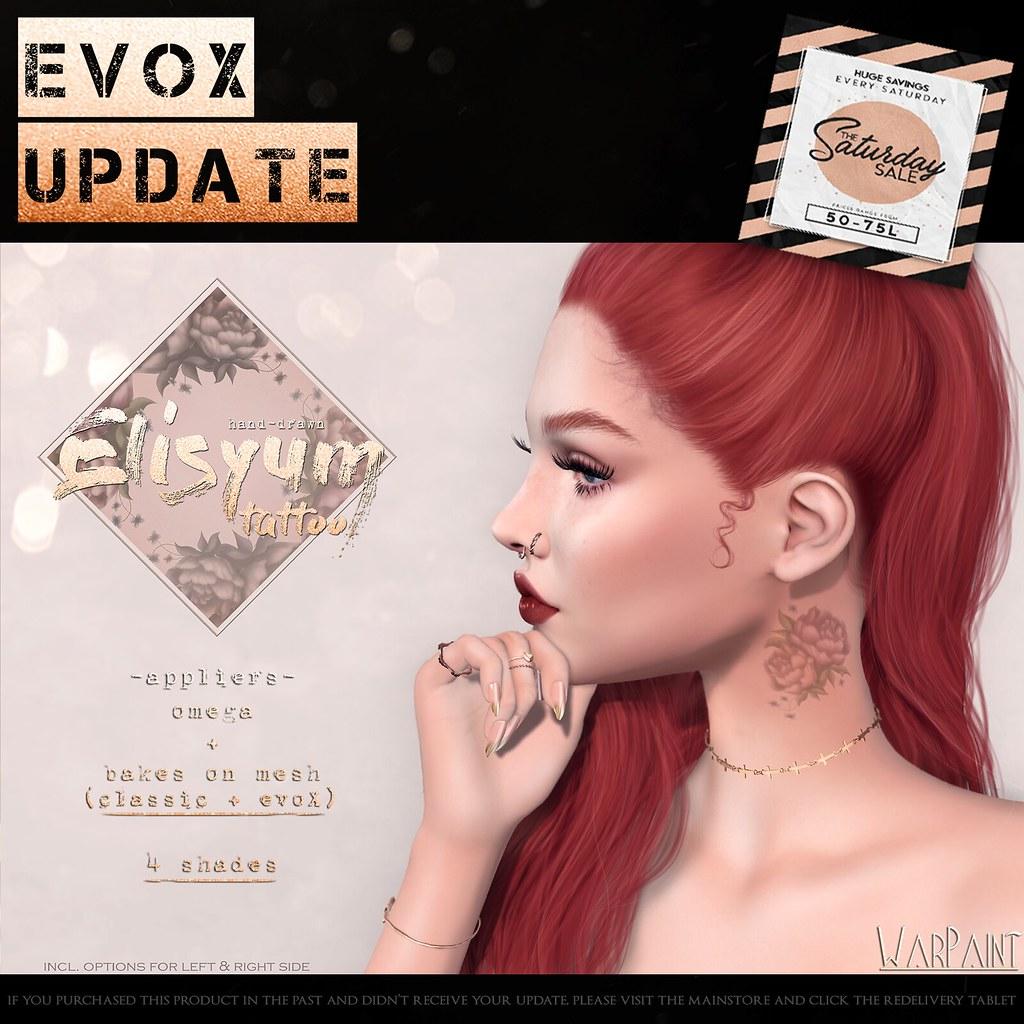WarPaint @ TheSaturdaySale - Elysium neck tattoo