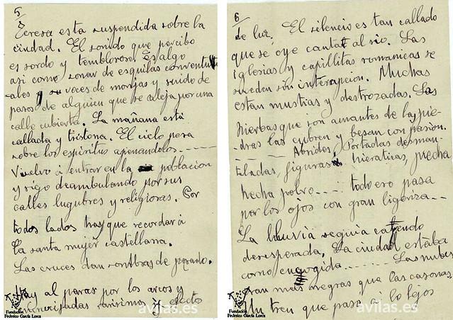 Federico García Lorca. Impresiones de viaje sobre Ávila, cuartillas 5 y 6, 1917. Centro García Lorca.