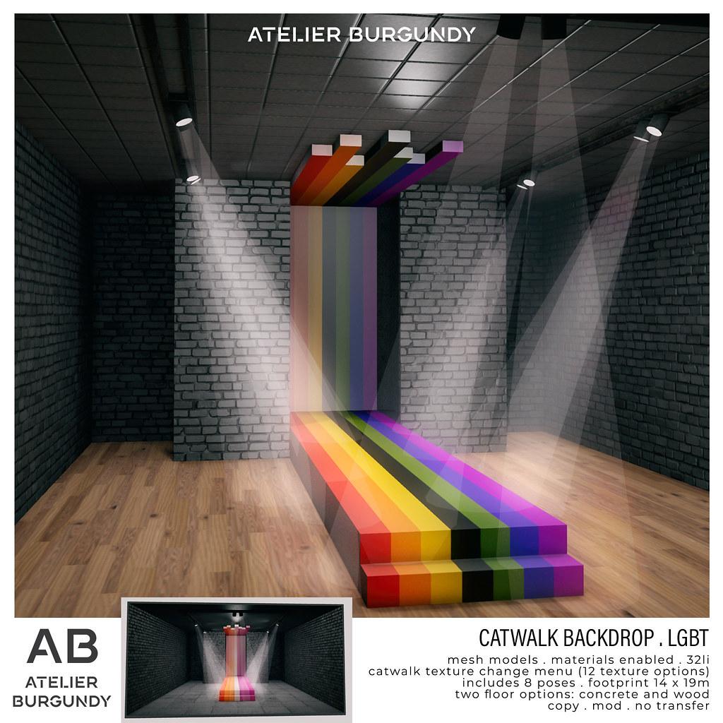 Atelier Burgundy . Catwalk Backdrop LGBT