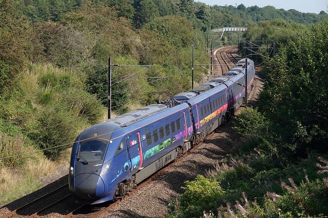 Hull Trains 802303 passes Sunderland Bridge on 8 September 2021 with the 1045 London Kings Cross - Edinburgh Waverley training run.
