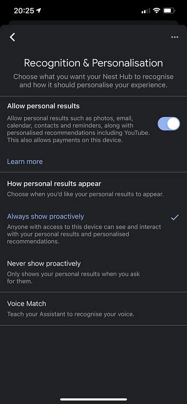 Google Home iOS App - Recognition And Personalization