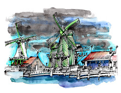 Mills on Zaanse Schans (the Netherlands) on a cloudy day