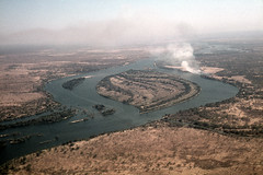 ZW Victoria Falls river above falls view from air - 1965 (W65-A73-24)