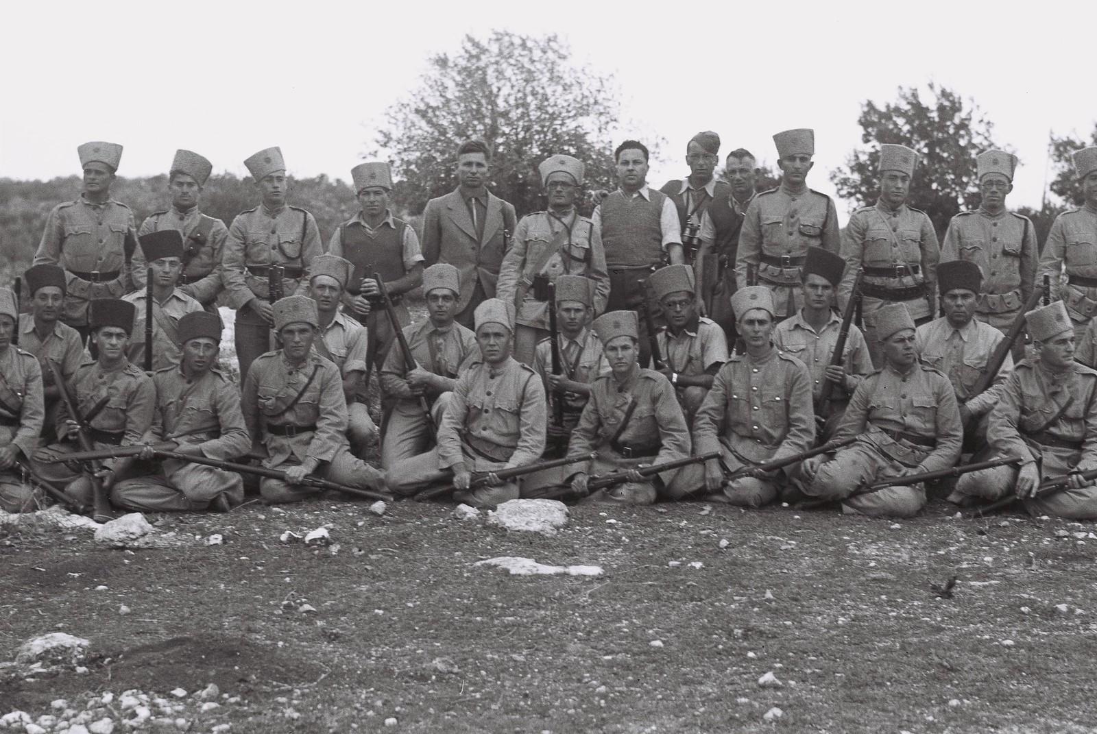1938. Групповое фото полиции еврейского поселения. 12.07.