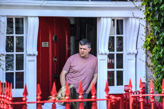 Outside the red door