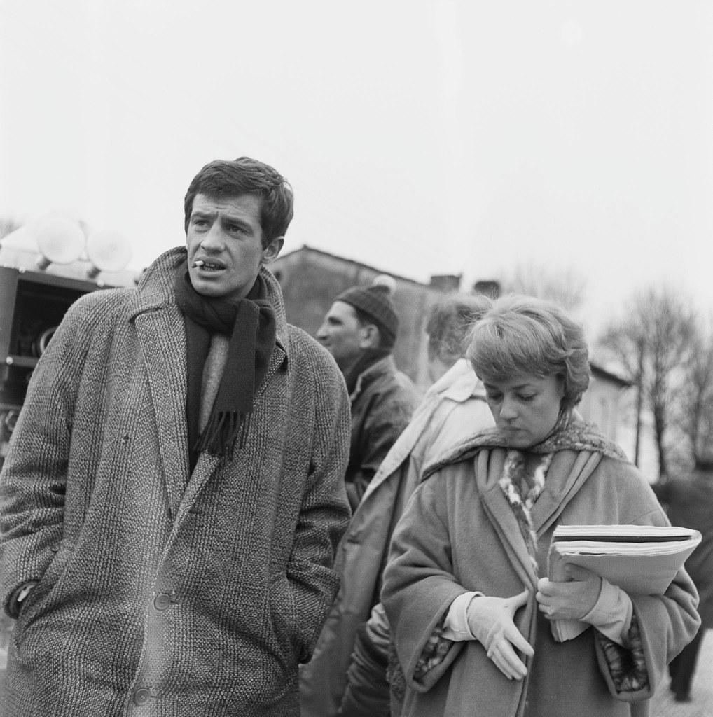 1960. Жан-Поль Бельмондо и Жанна Моро на съемках «Семь дней, семь ночей»