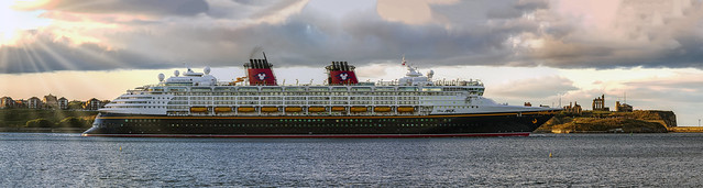 Disney Magic leaving the River Tyne Tonight 5 shot panorama