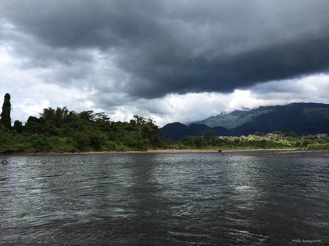 Strom clouds over the Sungai Tutoh, near Long Iman, Sarawak, Malaysia