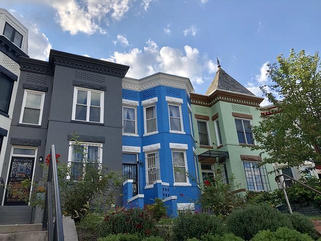 Row house colors, 11th Street NW, Columbia Heights, Washington, D.C.