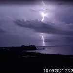 12. September 2021 - 4:12 - Lightning above the Sea of Japan during a thunderstorm on September 10, 2021. This is a frame from video taken with mobile phone camera from my small homeland - from Yuzhno-Morskoy (near Nakhodka), Russia.