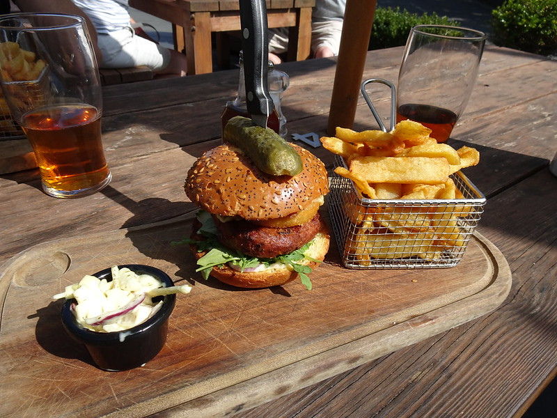 Lunch at The Cambrian Inn - Spicy Veggie Burger, triple cooked chips and coleslaw