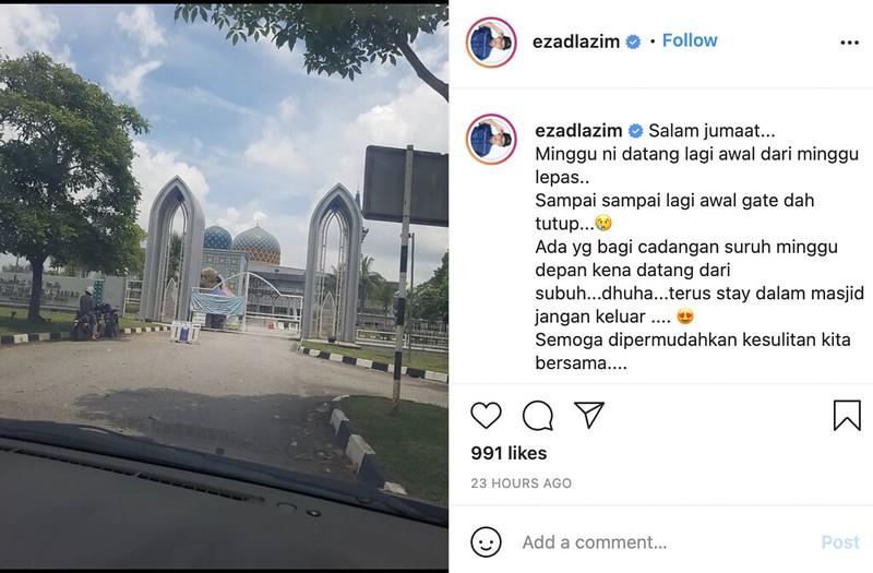 Ezad Lazim Sedih Tak Dapat Solat Jumaat Di Masjid