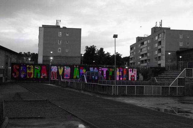 """Graffiti sign of """"Södra Ryd mitt hem""""…!"""