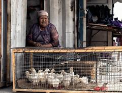 Chiken seller in Bishkek market