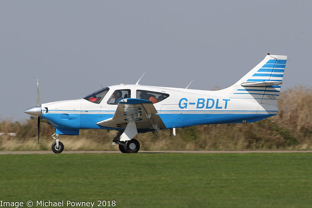 G-BDLT - 1975 build Rockwell Commander 112A, departing from Sywell during the 2018 LAA Rally
