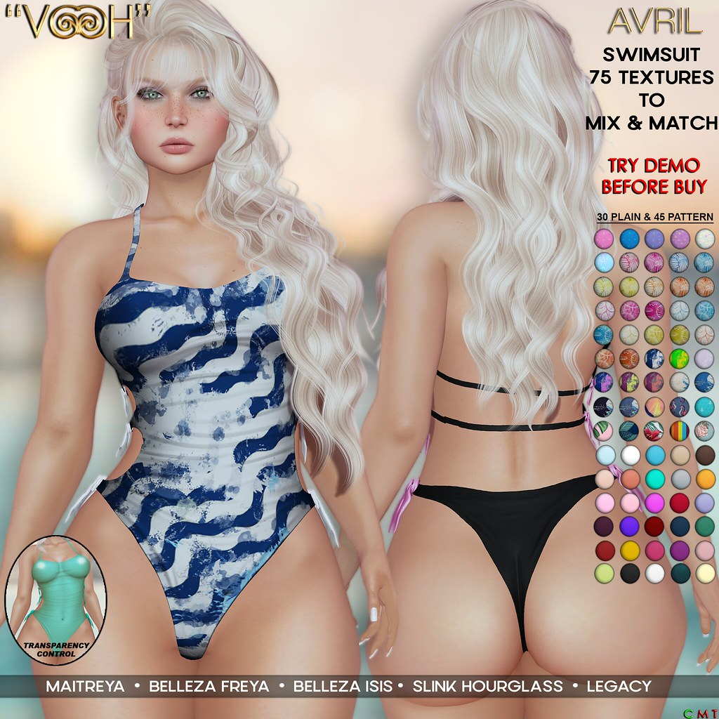 """"""" VOOH """" AVRIL SWIMSUIT 75 TEXTURES TO MIX & MATCH"""
