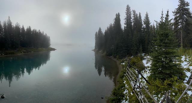Maligne fog and snow