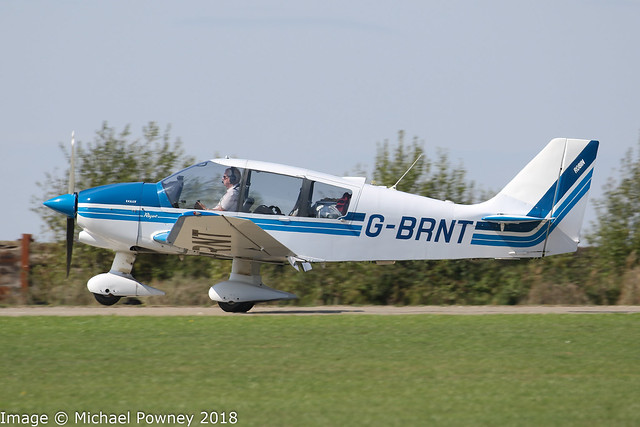 G-BRNT - 1989 build Robin DR400/180 Regent, arriving at Sywell during the 2018 LAA Rally