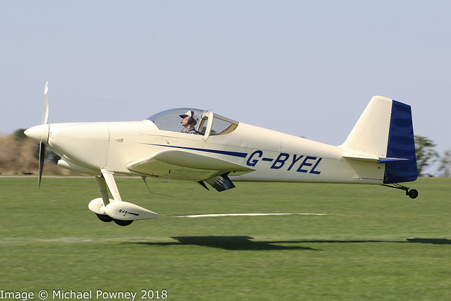G-BYEL - 2000 build Vans RV-6, arriving at Sywell during the 2018 LAA Rally