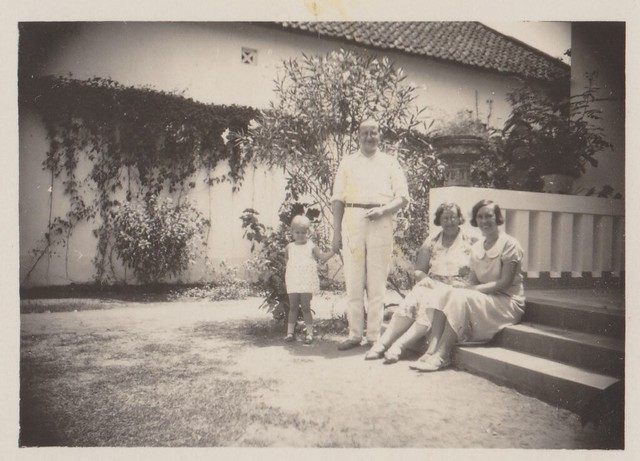 Photo album 2 - Somewhere at Java - Family posing in garden, 1932