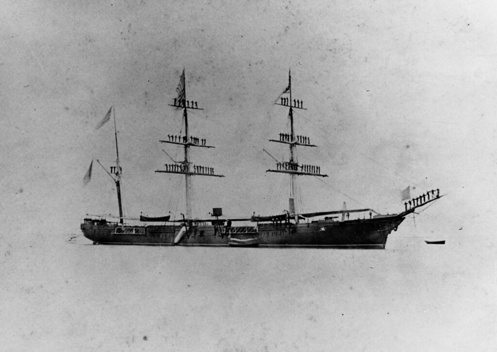 USS Ossipee (1862-1891)  Off Honolulu, Hawaii, with crew manning the yards in 1867.