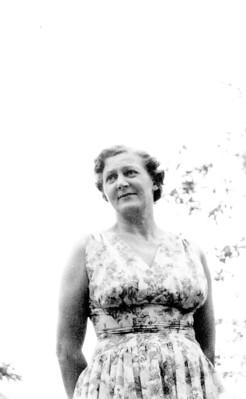 Olive Davis in her garden c1958-60